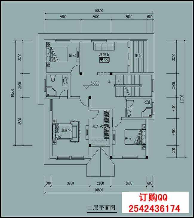 三层别墅设计图  占地面积:110平方米 【图纸尺寸可根据实际情况修改